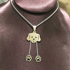 Dog Paw Print Stainless Steel Necklace Pendant Silver 18""