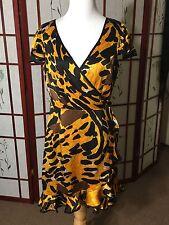 Betsey Johnson Abstract Animal Print Ruffle Wrap Silk Dress Sz 8
