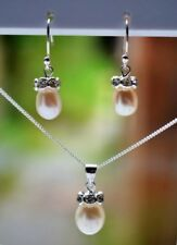 Sterling Silver 925 Genuine Fresh Water Pearl Pendant, Earrings, Chain Set