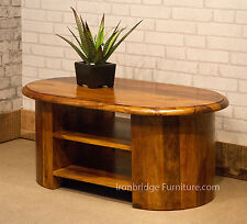 Solid Indian Rosewood Sheesham Oval TV Stand Cabinet Unit Coffee Table + shelves