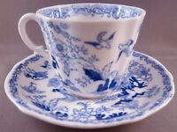 Royal Albert Crown China Blue Willow Cup and Saucer - Vintage English China