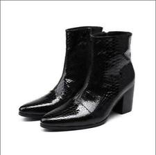 Retro Mens British Pointy Toe Ankle Boots High Block Heel Snake Pattern Shoes sz