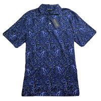 POLO GOLF Ralph Lauren Mens Blue Jersey Floral Polo Shirt LARGE NWT $98