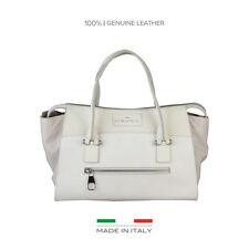 Handtasche Made in Italia Diana echt Leder Schultertasche Weiß Beige Neu Bag