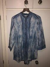 East John Lewis Fab India Indigo Dye Blue Striped Cotton Shirt Size 10 UK