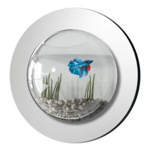 NEW! WALL MOUNTED FISH TANK - MIRRORED BUBBLE AQUARIUM WITH BACKGROUND