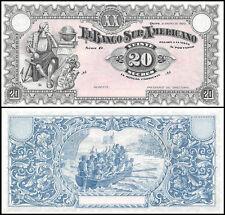 Ecuador 20 Sucres, 1920, P-S253a, UNC, Banco Sur America, Remainder