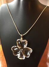 Boxed Waterford Crystal Cloverleaf Glass Pendant With Sterling Silver Chain