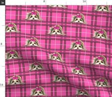 Biewer Yorkie Plaid Hot Pink Dog Spoonflower Fabric by the Yard