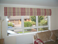 LAURA ASHLEY ROMAN BLIND MADE TO MEASURE IRVING STRIPE CRANBERRY CHILD SAFE