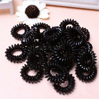 10x Spiral Slinky Elastic Rubber Tie Wire Coil Hair Bands Rope Ponytail Black e
