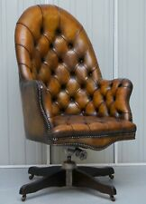 ORIGINAL HILLCREST RESTORED CHESTERFIELD BROWN LEATHER DIRECTORS CAPTAINS CHAIR