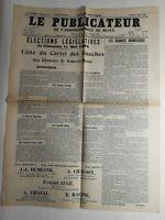 N286 La Une Du Journal Le publicateur 3 mai 1924 élections législatives