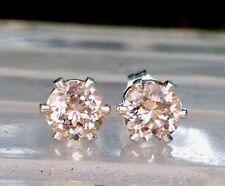 New Silver Earrings 6mm 1ct Each MORGANITE Precious Pink Beryl