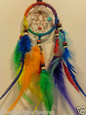 Rainbow Small Car Dream Catcher With Beads and Feathers 6 cm Web 32 cm Drop