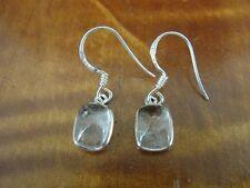 Clear Rainbow Moonstone Rectangle Dainty Sterling Silver 925 Pierced Earrings