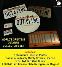 OUTATIME, BACK TO THE FUTURE, marty McFly, BTTF, LICENSE PLATE set, movie props