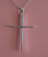 925 Sterling Silver Religious Big Plain Cross Charm Necklace - Cross Necklace