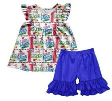 LITTLE MISS FIRST GRADER RUFFLED SHORTS OUTFIT - NEW - SIZE 7-8