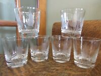 Set (6) Mid Century Etched WHEAT DESIGN Rocks Glasses