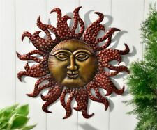 """22"""" Celestial Iron Astrology Sun Face Design Wall Decor Antique Gold and Red NEW"""