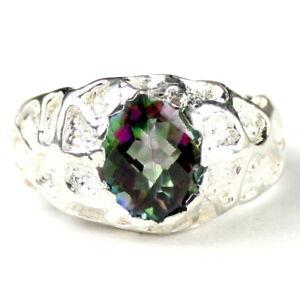 MYSTIC FIRE TOPAZ Sterling Silver Men's Ring, Handmade • SR168