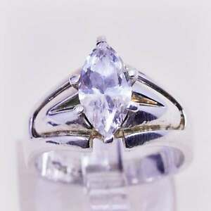Size 7.25, Vintage sterling silver handmade ring, engagement ring Marquise cz