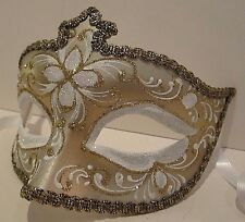 MAR0F HANDMADE IN ITALY - MASQUERADE, PAPIER MACHE PARTY MASK, WHITE/GOLD