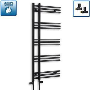 500mm Wide 1200mm High Straight Black Heated Towel Rail Radiator Difta Bathroom
