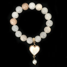 BOWERHAUS Tangerine Agate Bracelet - Pearl Charm with 24K Gold Plated
