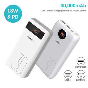 ROMOSS 30000mAh USB-C Powerbank 3A PD QC Schnell Ladegerät Lightning ZusatzAkku