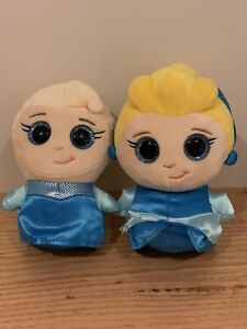 Disney's Teenie Tums - Elsa & Cinderella Stuffed Toys, Excellent Condition!