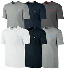 Mens-Nike-T-Shirt-Crew-Neck-Embroidered-White-Swoosh Logo T-Shirts