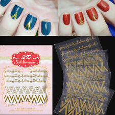 1Sheet 3D Nail Art Stickers V Shape Heartbeat Gold Nail Decals Tips Decoration