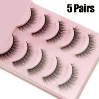 NEW 3D Mink Natural Short False Fake Eyelashes Handmade Eye Lashes 5Pairs