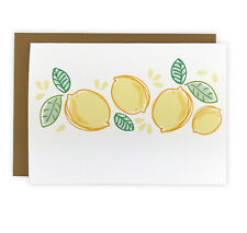 Set of 10 Illustrated Lemon Note Cards, Boxed Stationery Set