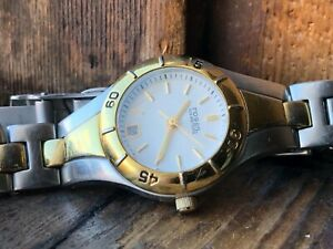 AUTHENTIC Nice Modern Ladies FOSSIL blue AM-3860 Two Tone Date Quartz Watch