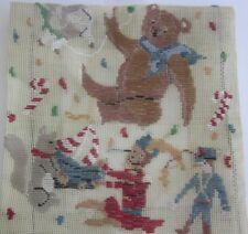 vintage NURSERY TOYS Teddy Bear, Soldier  Trammed TAPESTRY CANVAS & WOOL Kit