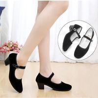 Womens Ladies Black Mid Block Heel Mary Jane Office Work Formal Strap Shoes
