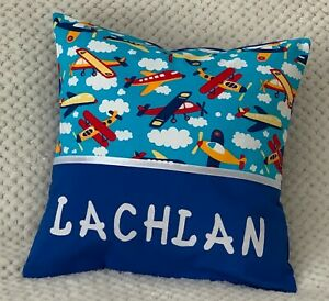 CHILDS / BOYS / PERSONALISED NAME CUSHION COVER / KINDY PILLOW - Areoplanes -