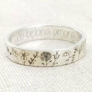 Boho Wildflowers Daisy Carved Flower Ring Women Men Floral Handmade Ring Gift