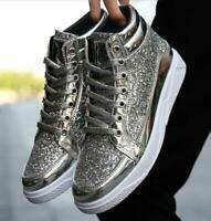 Mens Flat Lace Up High Top Hip-hop Shoes Rivet Glitter Fashion Sneakers Trainers