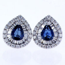 2.80 CT Diamond & Sapphire Earrings in 18K White Gold