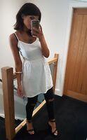 Stunning white strappy crochet sides floaty white boho summer dress! Size 10