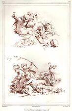 Putten con peces, idus-litografía de boucher/emiile Wattier de aprox. 1850