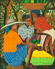 """Marchandes"" by Wilmino Domond - Naive Haitian Art, 2nd Generation - 16 x 20 in"