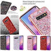 For Samsung Galaxy S10 /Plus /E Bling Hybrid Glitter TPU Protective Case Cover