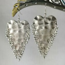 Spectacular Extra Large Hammered Silver Heart Statement Dangle Earrings