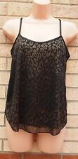 INTERNACIONALE BLACK GOLD LEOPARD ANIMAL STRAPPY SUMMER TUNIC TOP CAMI 10 S