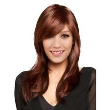 Women Girls Long Natural Straight Synthetic Hair Wigs with Cap Copper Red